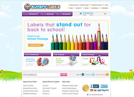 Oliver's Labels branded website. The site not always accessible from within Canada.